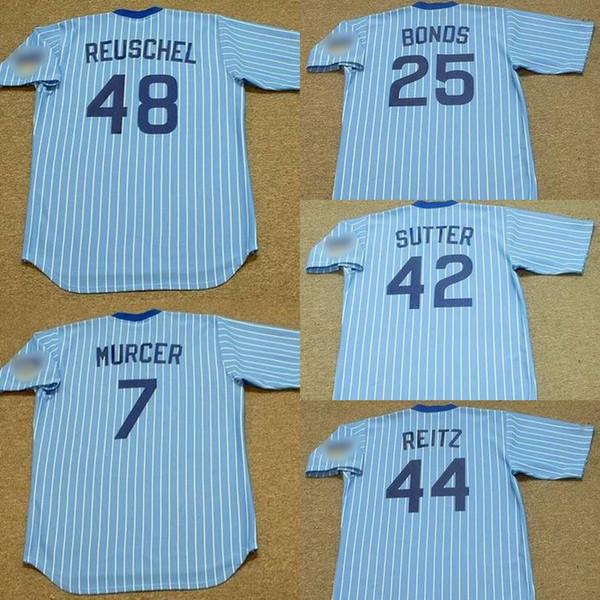 Chicago 7 BOBBY MURCER 25 BOBBY BONDS 42 BRUCE SUTTER 44 KEN REITZ 48 RICK REUSCHEL Jersey de béisbol hombres mujeres jóvenes cosidas S-4XL