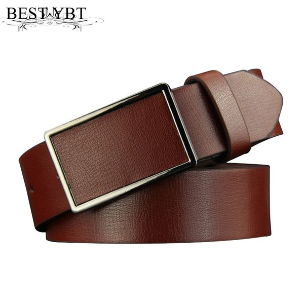 Best YBT New Men Imitation Leather Belt Alloy Smoother Buckle Belt Fashion Individual Causal Business High Quality Men