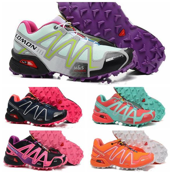 Acheter Solamon Speedcross 3 III CS Chaussures De Course Chaussures De Course Femmes Orange Bleu Speed Cross Randonnée En Plein Air Sport Baskets De