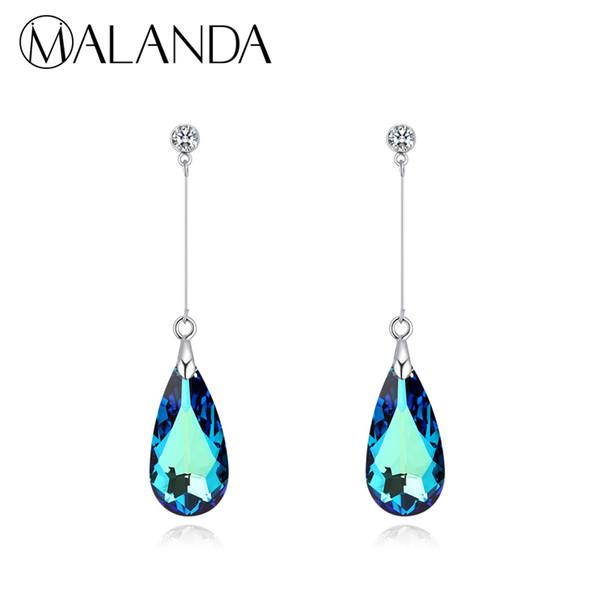 Malanda Original Crystal From Swarovski Water Drop Earrings For Women Earrings Fashion Long Dangle Earrings Wedding Jewelry Gift Y19050901