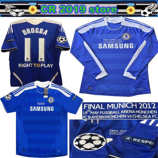 11 12 finales de época Jersey Terry # 26 Torres 2011 2012 finales Camiseta de manga larga de Lampard Luiz 4 DROGBA 11 MATA 10 Camiseta de fútbol retro