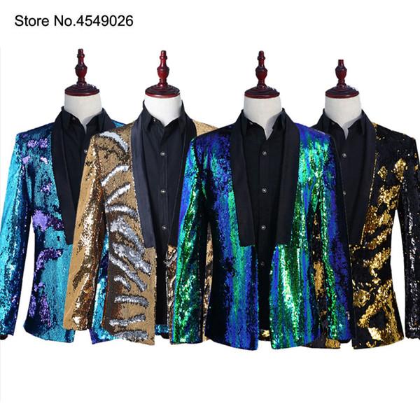Hommes Élégant Double Conversion De Couleur Brillants Sequins Blazer Costume Veste Costume De Mariage Veste Outfit Bleu Or Noir Vert Blazers