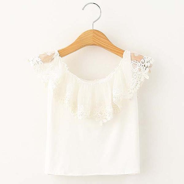 Fashion Girl Dress White Shirt Child Clothes Kids Clothing 2019 Summer Sleeveless T Shirt Lace T-Shirt Girls Tops Children T Shirts C19525