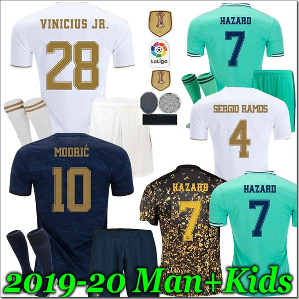 best selling 19 20 Kids Real madrid football Jersey Benzema JOVIC Modric Sergio Ramos KROOS HAZARD 2019 2020 adult man kids kit sports Soccer shirts