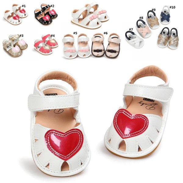Little Girls Heart Print Sandals Bowknot Baby Crib Shoes Pu Leather Sandals Soft Sole Anti-slip Infant Casual Shoes 3 Styles 10 Colors