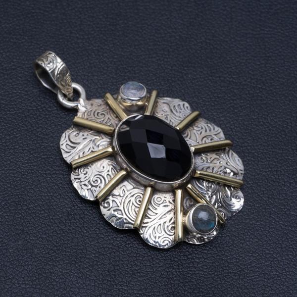 Colgante de plata de ley 925 de ónix negro, piedra lunar y labradorita azul fuego 1.75