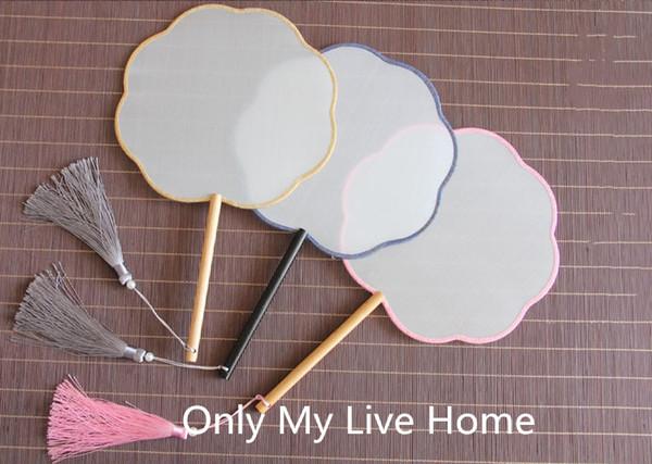 Personalized Ancient Circle Chinese Fan DIY Bridal Silk Hand Fan Long Birch Handles White Blank Fan Adult Fine Art Painting
