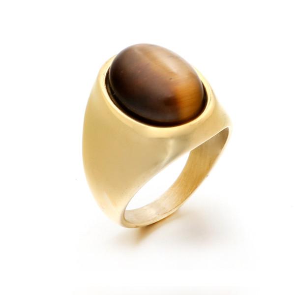 Venta al por mayor oval gemStone Ring For Men Vintage Rock accesorios de acero inoxidable anillo de lapislázuli anillos naturales de alta calidad