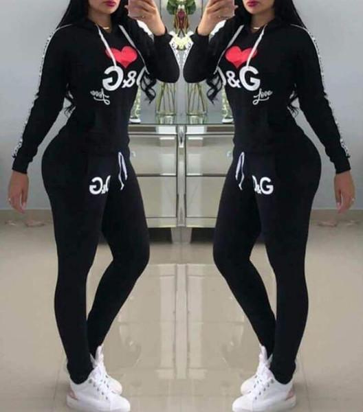 Frauen D G Buchstaben Trainingsanzug für Frauen Sport Anzüge Gedruckte Trainingsanzüge Langhülse Casual Sportwear Kostüme 2-teiliges Set Hoodies Sweatshirt