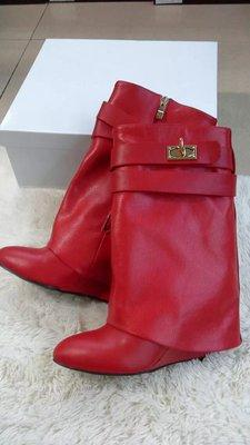 red smooth leather