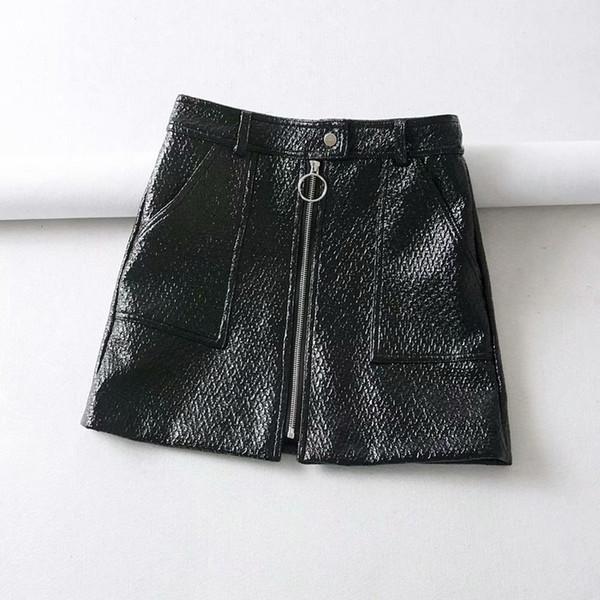 automne en gros jupe en cuir Faux cuir Mini vêtements Vintage noir jupe crayon taille haute robe Halloween Party Secrétaire jupes