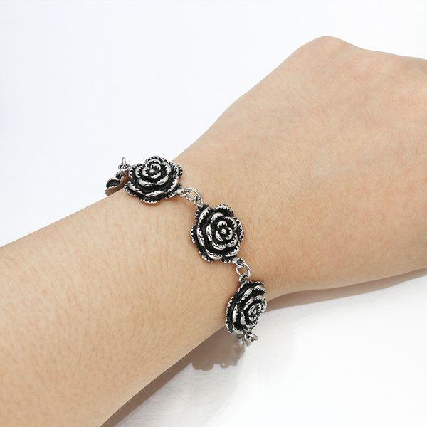 Bijoux Femmes Européennes Personnalisé Titane Acier Noir Rose Bracelet Punk Gothique Fleur Femmes Bracelet pulseira feminina