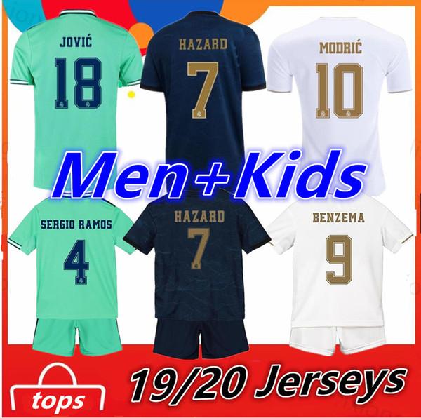 Real Madrid 2019 2020 PERICOLO RAMOS BENZEMA JOVIC Maglie da calcio modiche camisa de futebol 19 20 maglie da calcio kit per bambini sport uomo Maillot