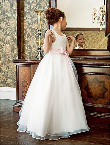 Cute Pageant Pink Sash Flower Girl Dress For Wedding Dresses Floor Length Hand Made Flowers Bows Kids Prom Birthday Dresses