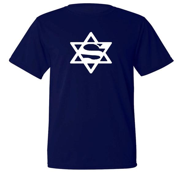 Super Jew funny parody Jewish humour sweat proof fabric workout blue t-shirt Brand shirts jeans Print