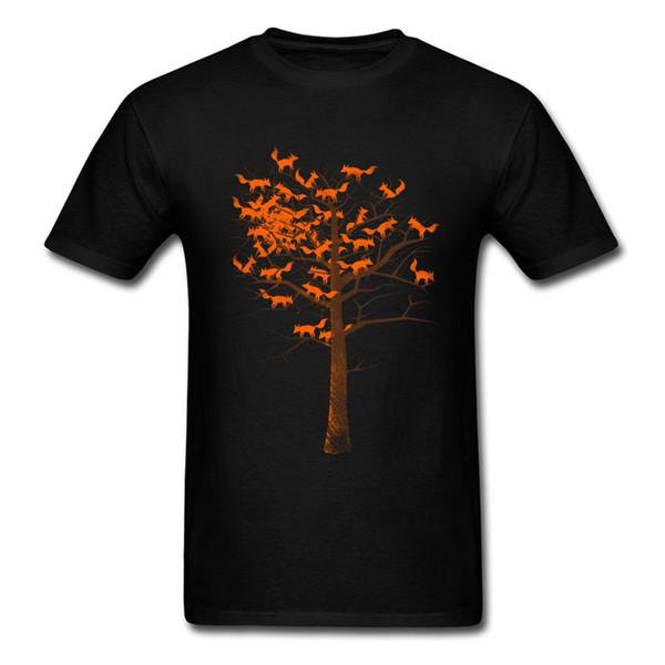 Blazing Fox Tree 100% Cotton Tops & Tees for Men Geek T Shirts Simple Style Oversized Round Neck Sweatshirts Short Sleeve