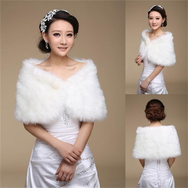 best selling White Bridal Wrap Shawl Coat Jackets Boleros Shrugs Regular Faux Fur Stole Capes Wedding Party 17004