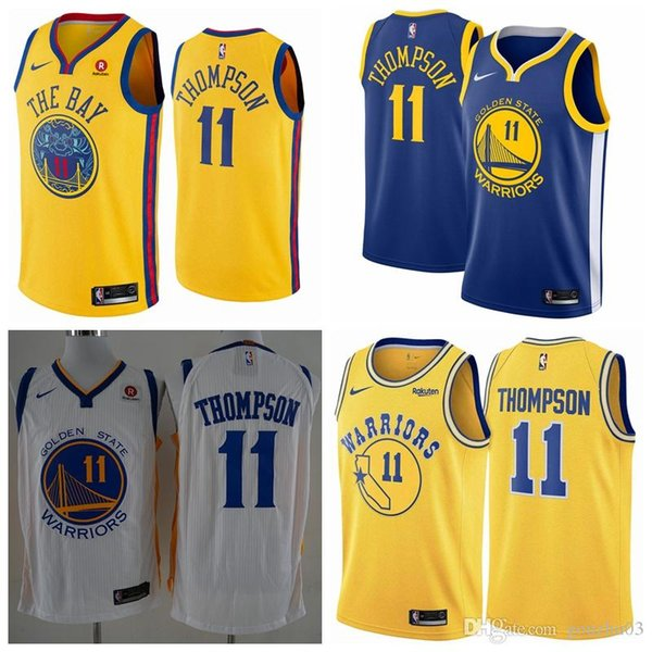 best service e41f4 af7f7 2019 2019 Mens Golden States Jersey Warriors 11 Thompsons Basketball Jersey  Stitched New City Jersey Thompsons Warriors Basketball Shorts From ...