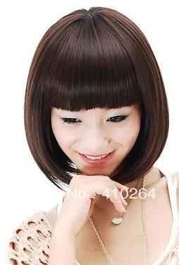 Fine free shipping New Sexy dark brown Womens Girls Cosplay Party hair fashion full wigs