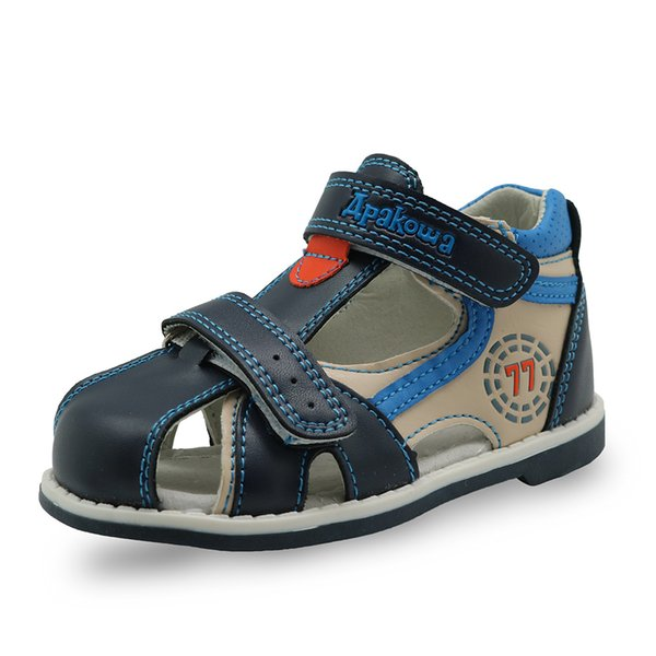 Apakowa Top Quality 2017 Kids Sandals Pu Leather Children Shoes Breathable Flats Toddler Boys Sandals Summer Sandal Arch Support Y19051504