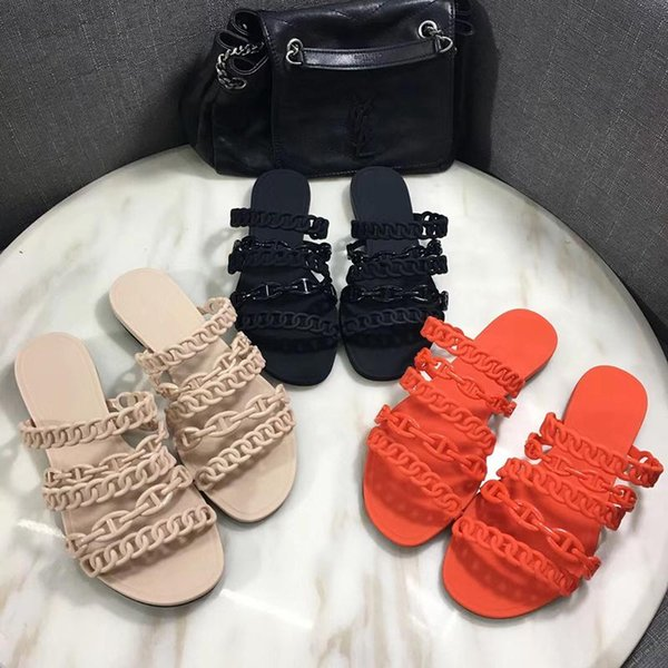 New Rivage Chaine d'Ancre rubber jelly sandals slides Brand Designer Slippers Women Flat Flip Flops Slippers Party Wedding Shoes With Box