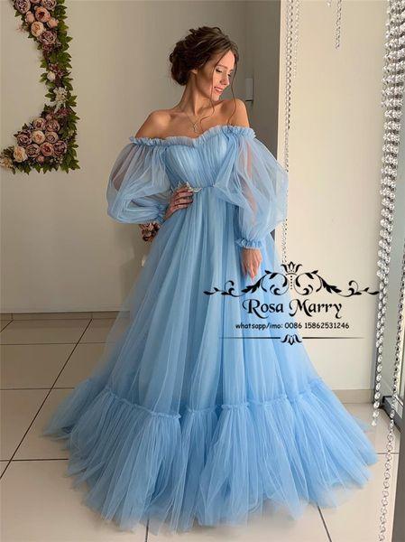 Cinderela Azul Fora Do Ombro Vestidos de Baile 2019 Uma Linha Plus Size Puff Mangas Compridas Rendas Apliques 2K19 Árabe Meninas Árabes Vestidos Formais