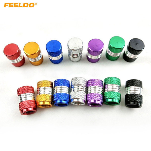 FEELDO 4PCS/Set Aluminum Alloy Car Motorcycle Truck Wheel Tire Valve Stem Caps Dust Covers 7-Color #5487