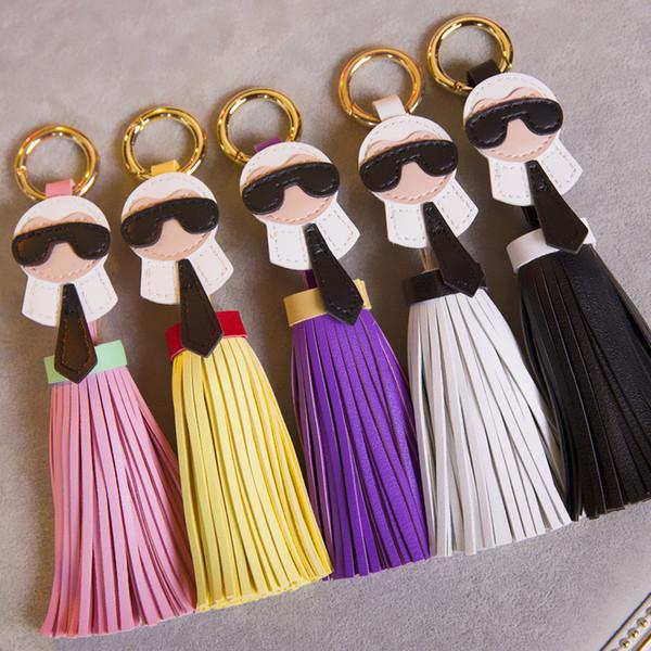 Corrente chave bonito para as Mulheres Kar trinket Bag Bugs Car chave do anel Borlas Saco Charme Titular Enfeites De Couro keychain