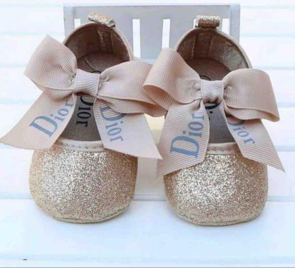 Bébé Fille Chaussures Princesse mignonne bowknot Kid antidérapage sur des chaussures pour enfant en bas âge 0-18 mois Lit crochet Première boucle Walkers