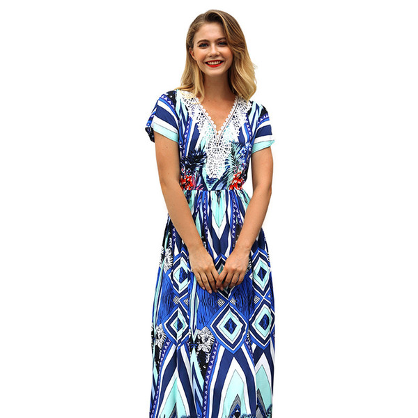 2019 Second Sandy Beach Skirt Kate 2018 Summer New Pattern Short V Lead Printing Lady On Vacation maxi Dress long sleeves Free shipping