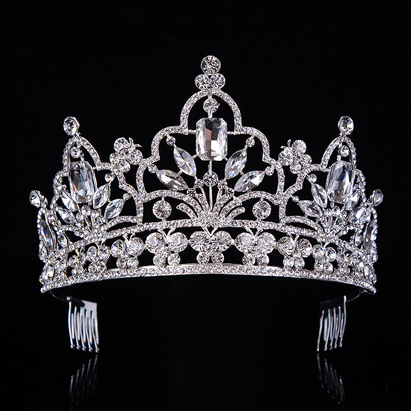 Hot Silver Crystal Large Queen Pageant Crown Noble Rhinestone Diadem Tiaras For Princess Headbands Wedding Hair Accessoriest-029 J 190430