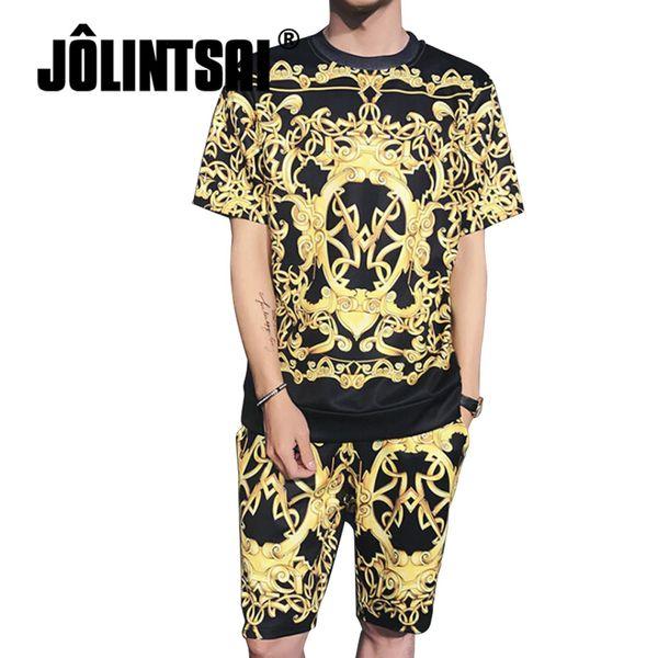 2018 New Fashion Summer Short Sets Men 3D Printing Suits For Men Hip Hop Suit Sets T Shirt +Shorts Tracksuit Plus Size M-5XL