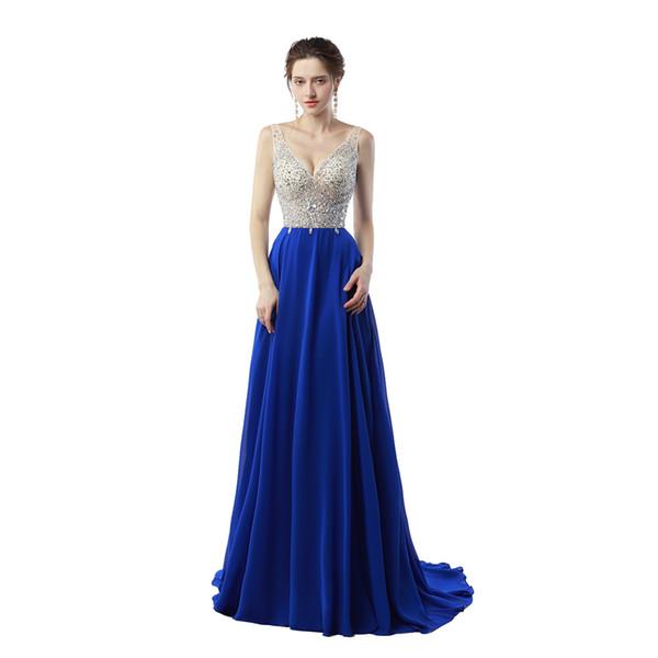 Compre Paño Barato De China Vestido De Fiesta De Luxo Longo 2019 Vestidos De Azul Real Vestido De Fiesta Largo De La Gasa De Noche Sin Espalda A