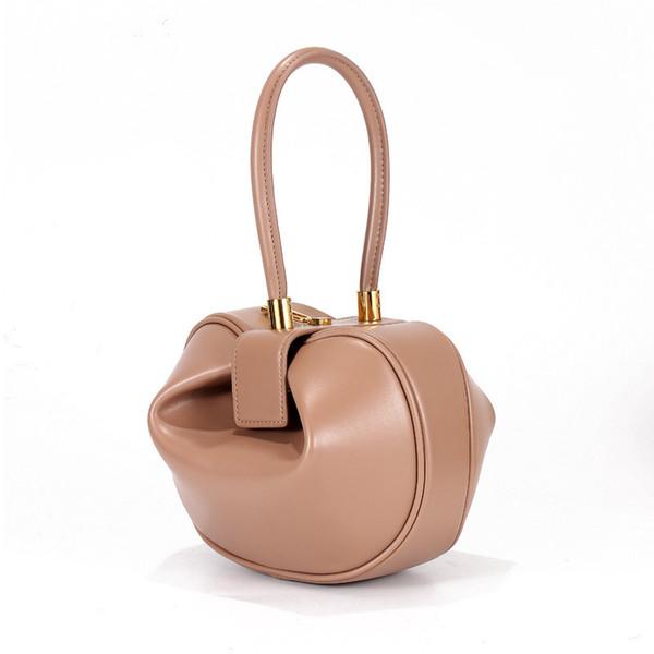 Miyahouse New Fashion Genuine Leather Bell Shape Bag Women Luxury Dumpling Top-handle Bag Lady Bell Shape Tote Handbag