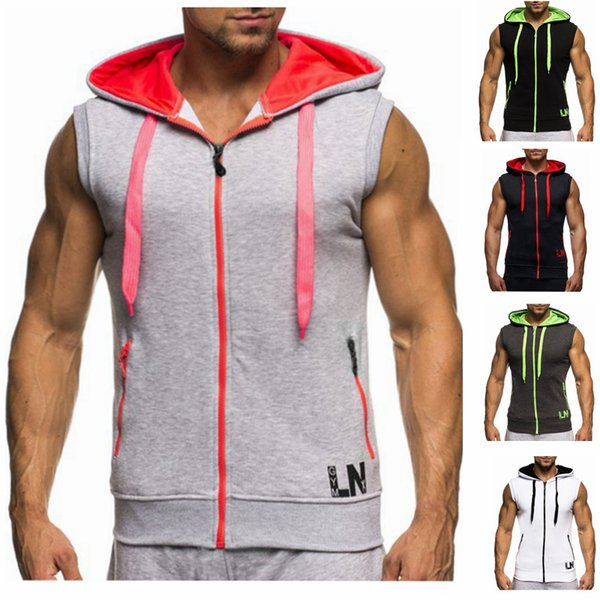 2019 Male Bodybuilding Hoodies Fitness Clothes Cotton Hoodie Men Sweatshirts Men's Sleeveless Tank Tops Casual Vest Zipper Y