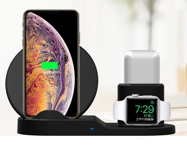 QI IPhone 8 Artı X XS Için Kablosuz Şarj Standı Max XR Kablosuz Şarj Dock İstasyonu 3 1 Apple AirPods Apple Için 2