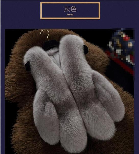 Pelz Faux Coat Fox Hair Cape Kurze Weste Jacke 2017 Schwarz Weiß 7 farbe Mantel Kunstpelz Faux Fox Kragen XXXL 4X