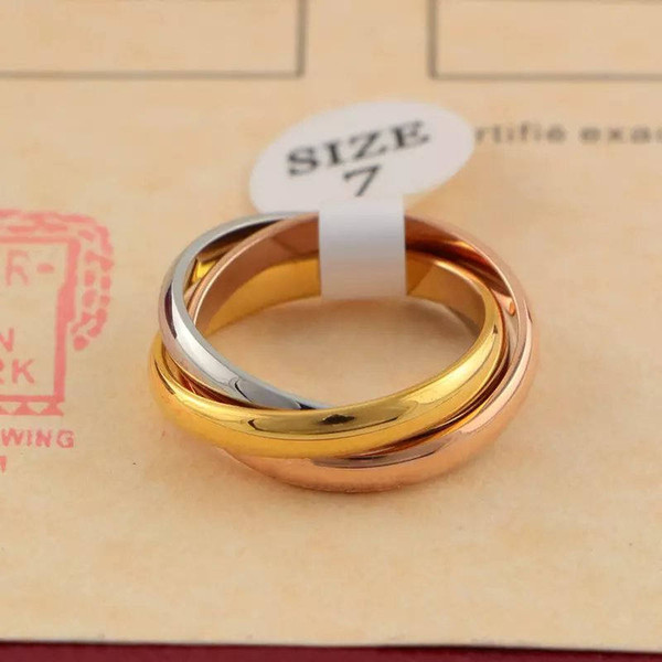 top popular Hot Sale Fashion Design Three Color Loop Mix Rings Men Women Couple Ring 316L Stainless Steel No Fade Love Gold Rings High Quality Jewelry 2021