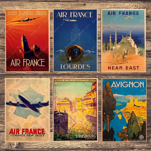 Travel Poster Air France Paris Canvas Painting Vintage Wall Pictures Kraft Posters Coated Wall Stickers Home Decoration Gift