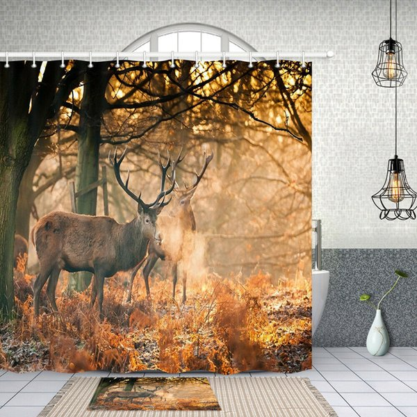 Autumn forest reindeer Shower Curtain Home Bathroom Decor Fabric 12hooks 71in