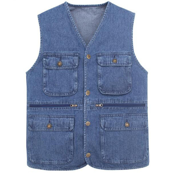 2019 New waistcoat designs for men jeans denim vests male with many pockets vest men sleeveless jacket SHIERXI