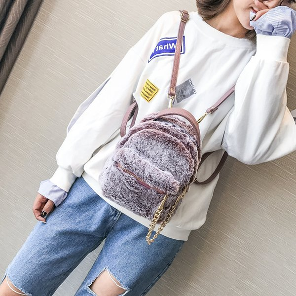 Free2019 Both Baby Shoulders Package Woman Winter All-match Chain Small Backpack Lovely Rabbit's Hair Mini- Messenger Dual Purpose