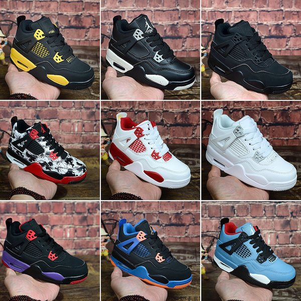 Nike Air Jordan 4 Chaussure de basket-ball Jumpman 4 IV pour femme 4s Denim Black Cat Fire rouge de race Breed Oreo Blanc J4 baskets pour enfants Bébés garçons Filles