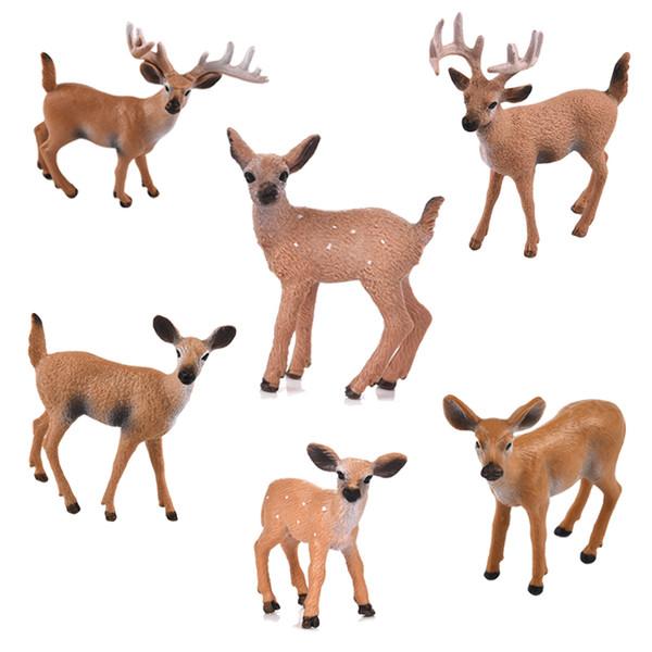 1pcs Artificial Mini Sika Deer Animal Miniature Figurines Toys Fairy Garden Miniatures Home Decor Gift For Kids C19041601