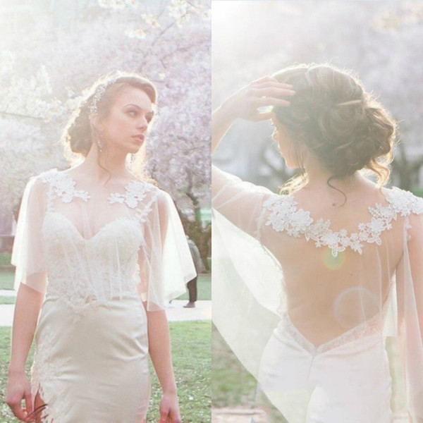 Short Tulle Bridal Wraps Jackets Simple Illusion Lace Wedding Shawls White Ivory Custom Bridal Boleros For Wedding Dresses Gowns