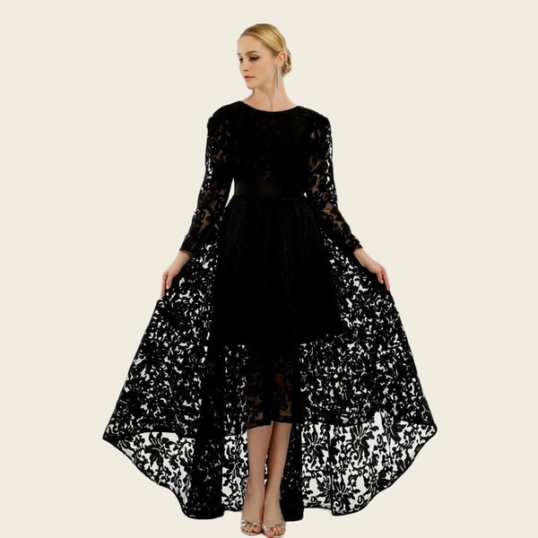 2018 Black Lace Prom Dresses High Low Long Sleeves Special Occasion Dress Formal Evening Party Wear A Line Tea Length Prom Dress F2609