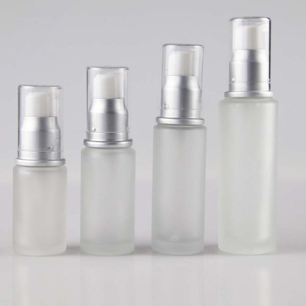 50ml Cosmetic Travel Packaging Empty Refill Frosted Glass Cream Lotion Pump Dispenser Bottle Jars Makeup Emulsion Liquid Storage Container