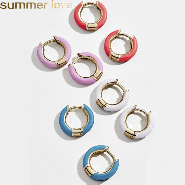 New Design Enameled Cooper Mini Hoop Earrings Summer Popular Candy Color Cute Circle Earring Cuffs for Women Lady Girls Summer Jewelry