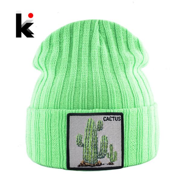 Cactus Patch Streetwear Gorras Sıcak Şapkalar ile Kış kasketleri Şapka Kadın Yeni Örme Katı Skullies Beanie Erkekler Rasgele Bonnet Caps