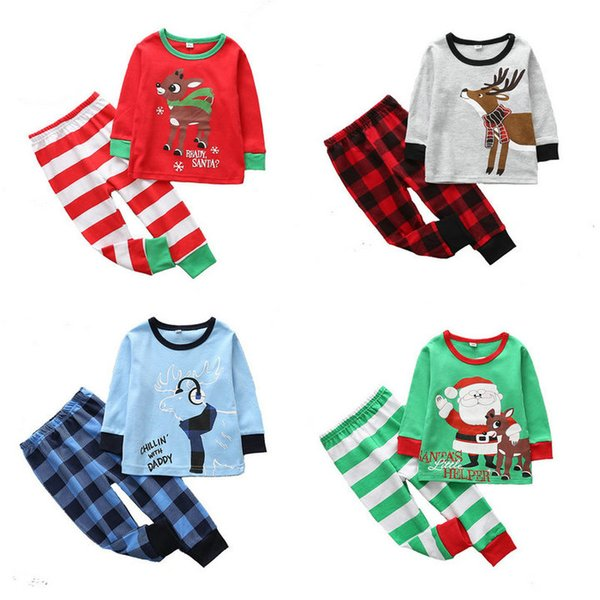Retail 35 styles Baby Kids tracksuit Christmas pajamas suit 2pcs Outfits Suits Sets Newborn Toddle Cartoon printed Cotton home clothing